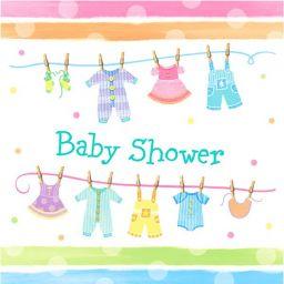 Servetten baby shower waslijn