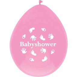 Ballonnen 6st  babyshower hand-voet roze