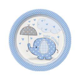 Babyshower bord olifant blauw 18 cm
