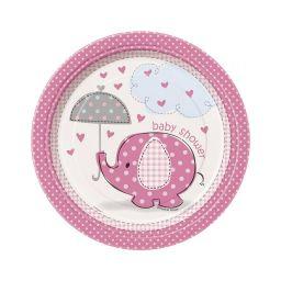Babyshower bord olifant roze 18 cm