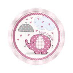 Babyshower bord olifant roze 23 cm
