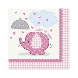 Babyshower servetten olifant roze