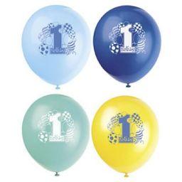 Ballonnen 1e verjaardag 8 stuks blauw