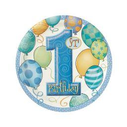Bord 1e verjaardag 18 cm blauw