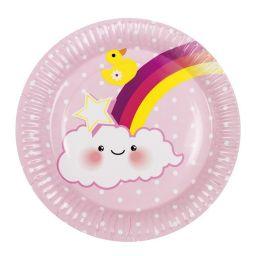 Bordjes regenboog meisje 6 stuks
