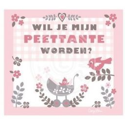 Wil je mijn peettante worden? Kaart roze ruit