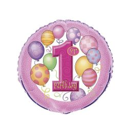 Folieballon 1e verjaardag roze