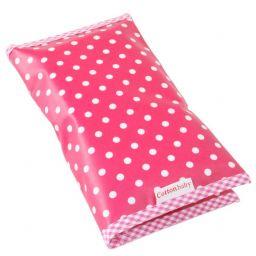 Cottonbaby luieretui roze met witte stippen