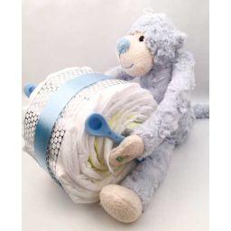 Luierpakket aap met trommel blauw