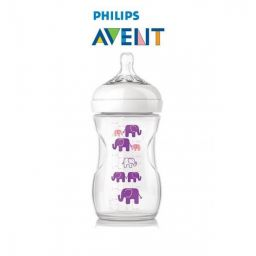 Avent natural fles 260 ml elephant paars-roze