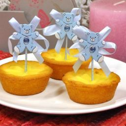 Cupcake prikker beer blauw per stuk
