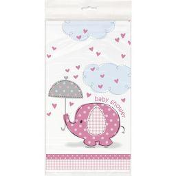 Tafelkleed babyshower olifant roze